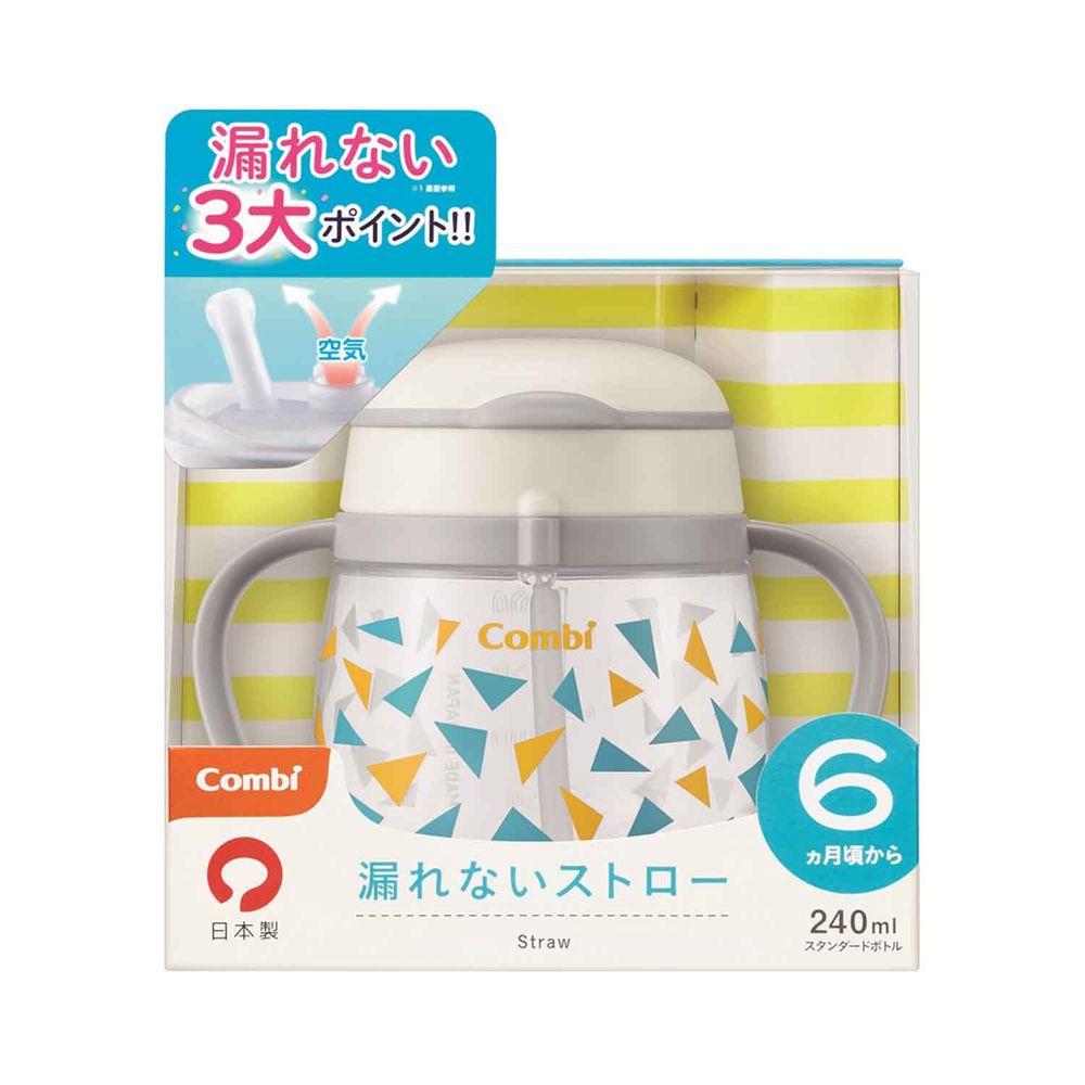 日本 Combi - LakuMug樂可杯第3階段吸管杯-水杯-繽紛三角 (6個月以上)-240ml