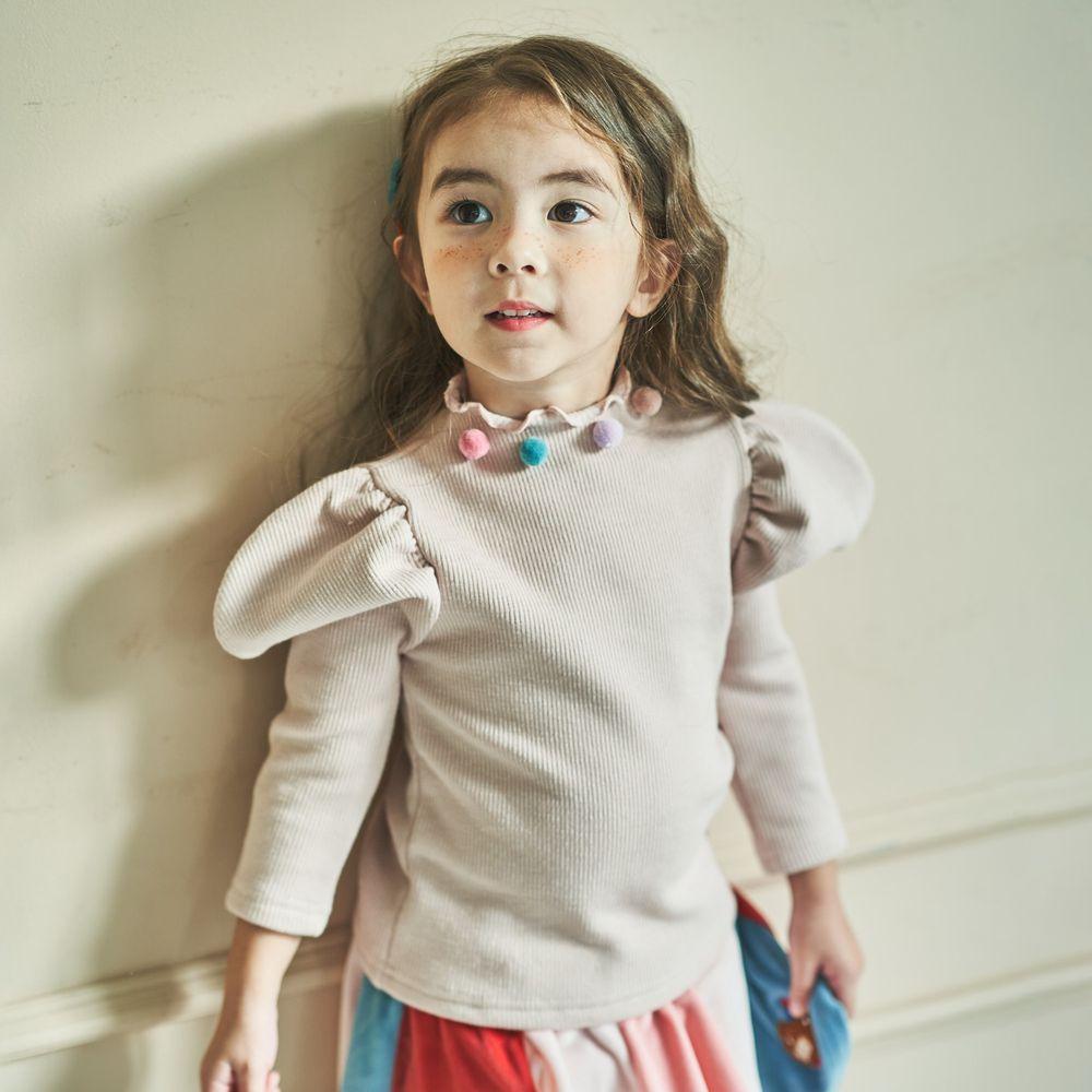 韓國 Mimico - (裏起毛)彩色球球領公主袖上衣-杏
