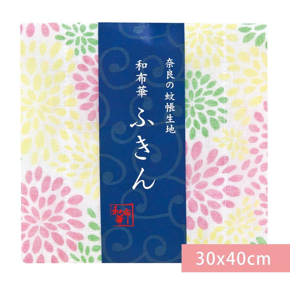 日本代購 - 【和布華】日本製奈良五重紗 方巾-滿開菊-粉綠黃 (30x40cm)