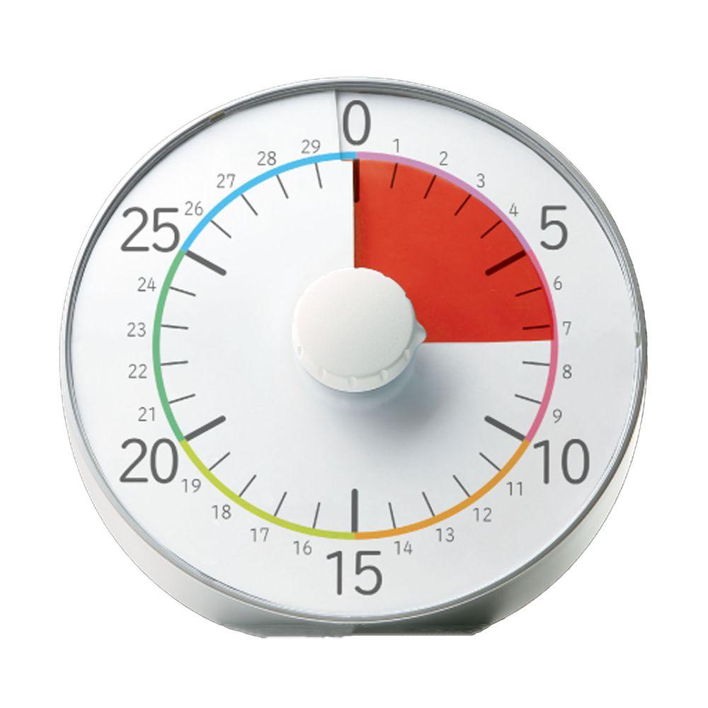 日本文具 SONIC - 時間流逝實感 倒數時鐘/倒數器-30mins版-銀 (19cm)
