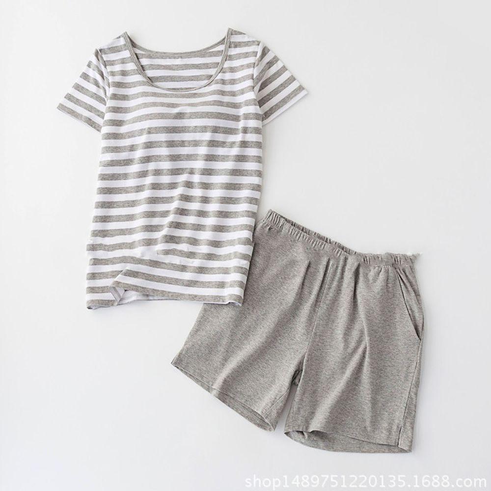棉質柔軟涼感Bra T家居服-短褲套裝-灰白條紋