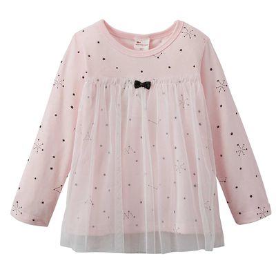 女孩薄紗分層風格上衣-滿天星空-粉紅色