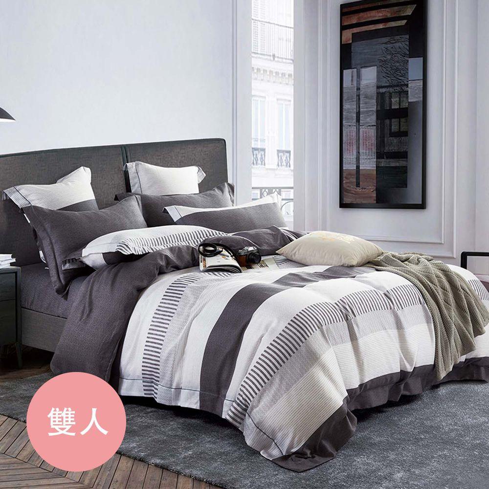 PureOne - 天絲系列.TENCEL寢具組-辛夷-雙人四件式床包鋪棉被套組