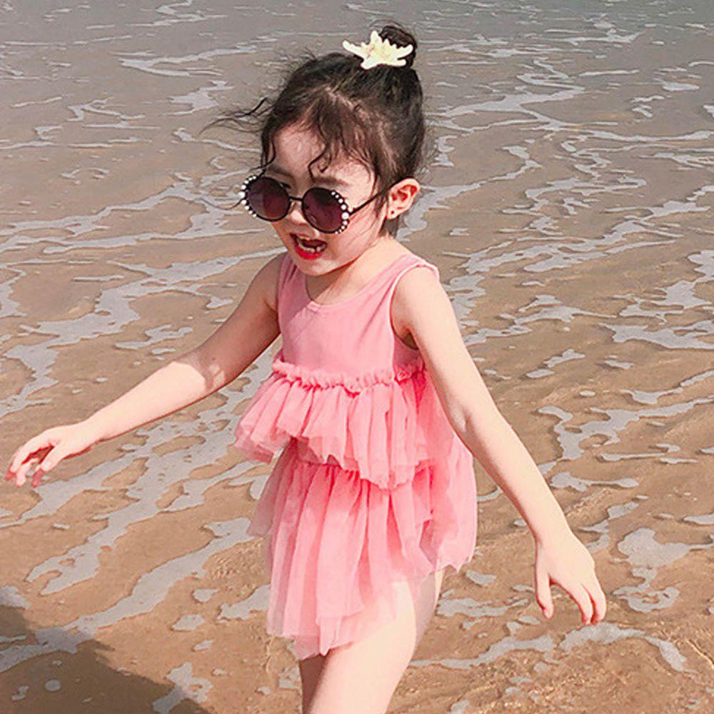 雙層網紗兒童泳裝-粉色