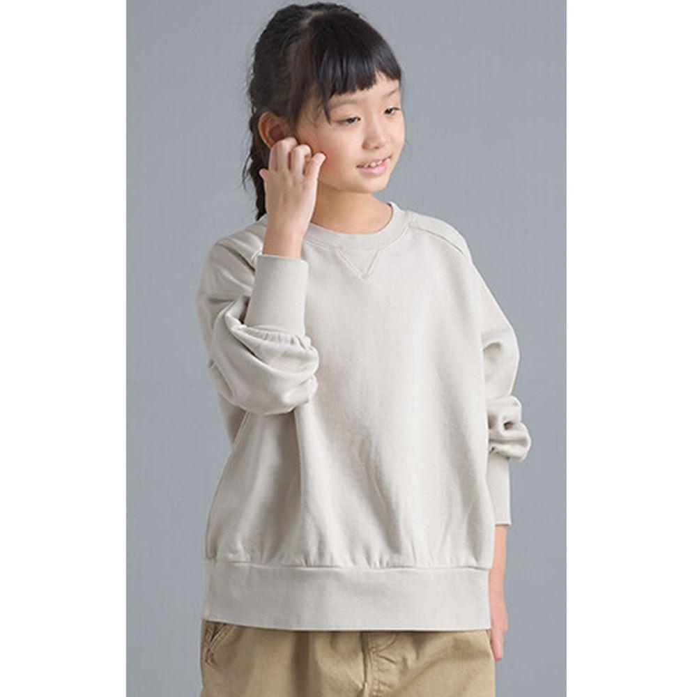 日本女裝代購 - 質感純棉裏毛印花大學T(小孩)-象牙白