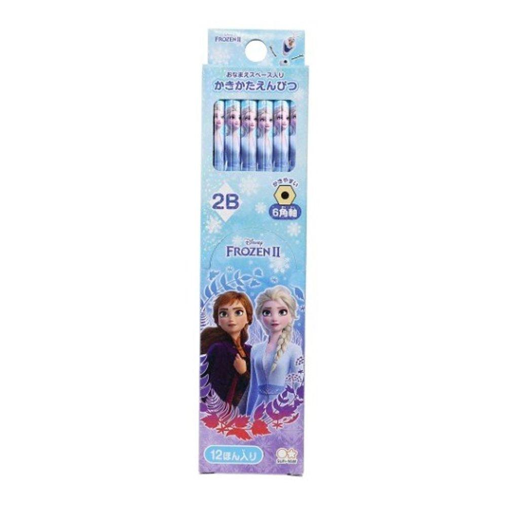 日本代購 - 日本製 12入六角鉛筆組-冰雪奇緣2-水藍 (2B)