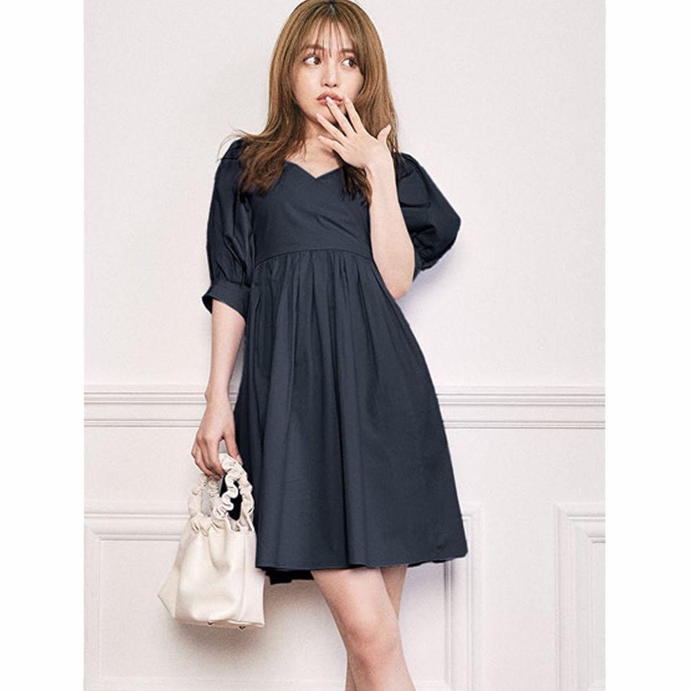 日本 GRL - 2way甜美大蝴蝶結美腰五分袖洋裝-海軍藍