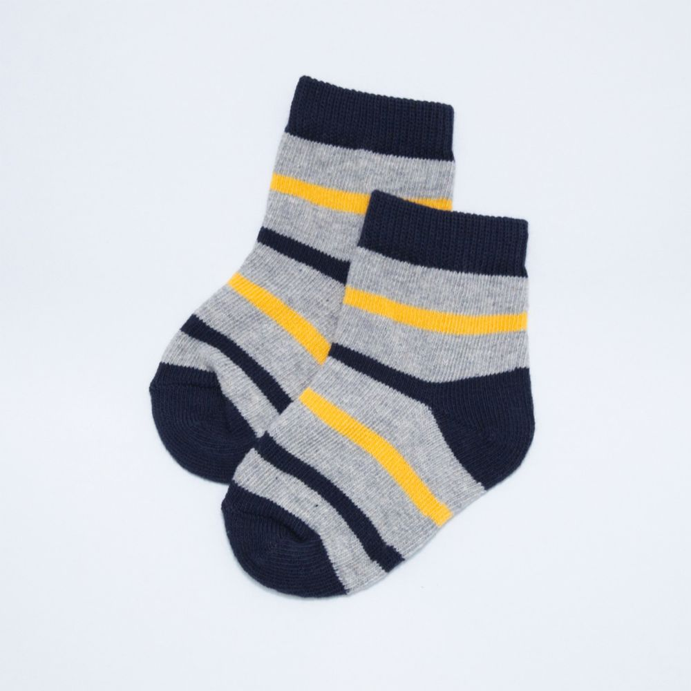 akachan honpo - 襪子-黃藍橫紋-黃色