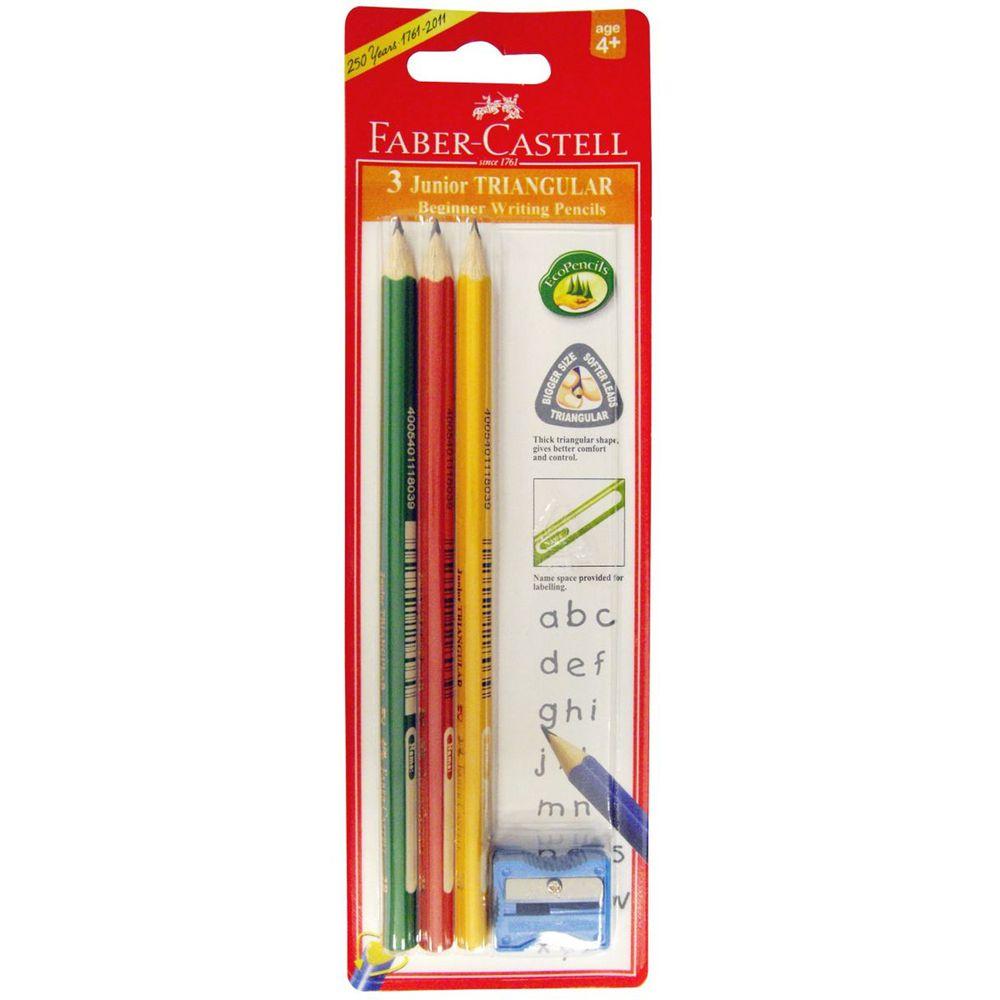 輝柏 FABER-CASTELL - 2B大三角鉛筆(3支入+削筆器)-4歲以上
