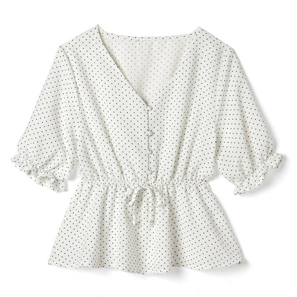 日本 GRL - 復古點點V領收腰五分袖雪紡上衣-天使白 (F)