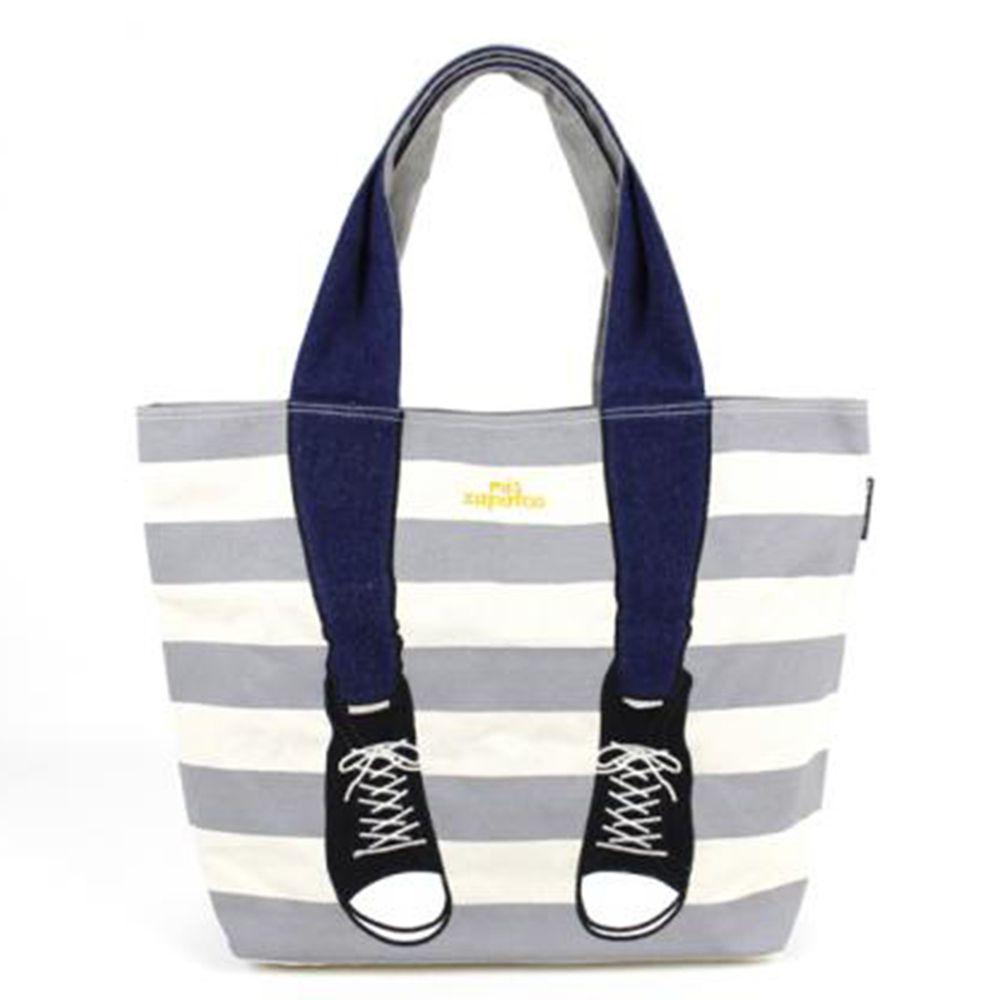 mis zapatos - 肩背托特美腿包(帆布)-條紋運動鞋-GY灰色 (21*30*15cm)
