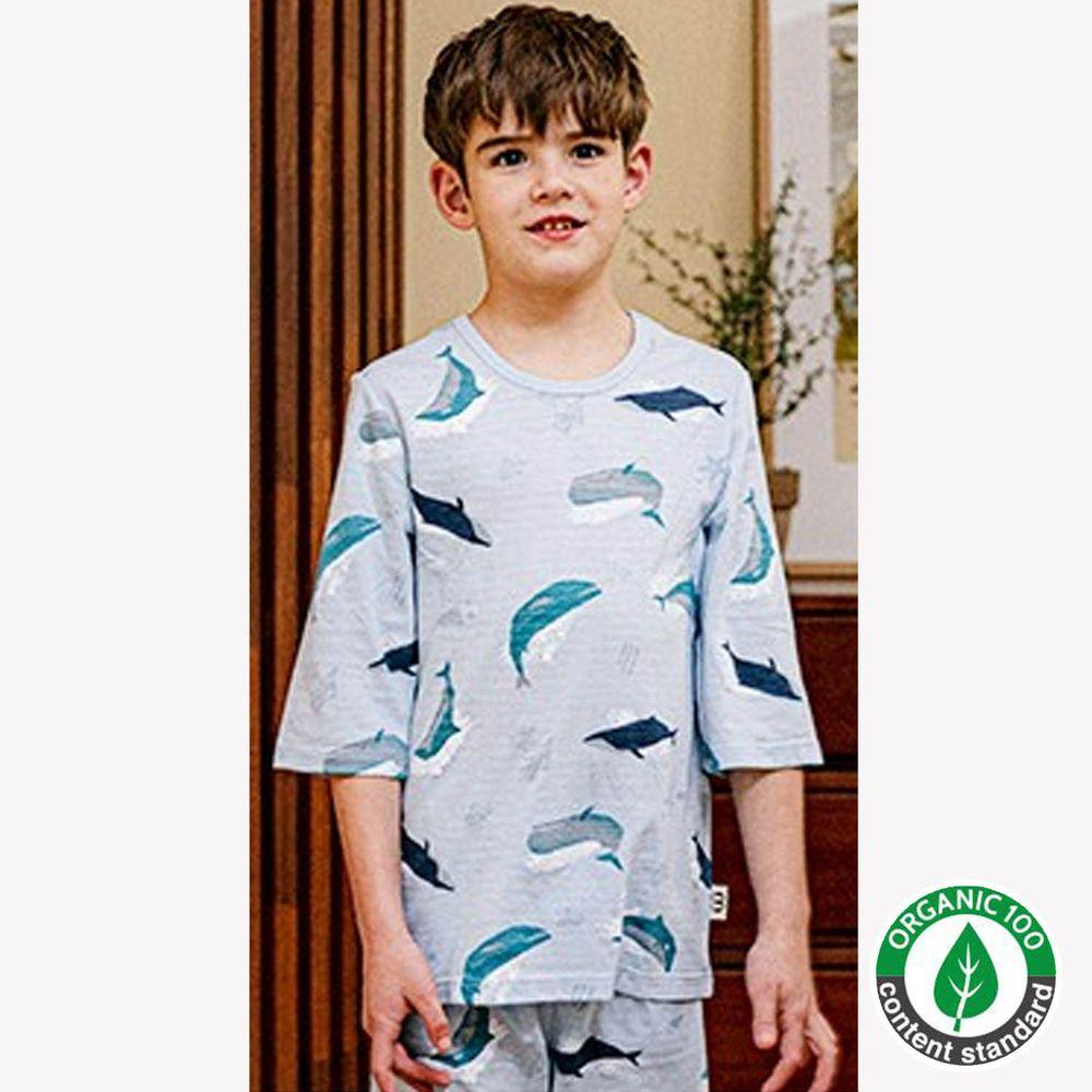 韓國 Mavarm Organic - 有機棉透氣七分袖家居服-大海鯨魚
