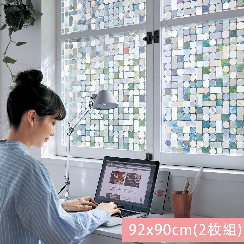 日本千趣會 - 日本製 99%抗UV光影窗貼(靜電式)-幾何圖形 (92x90cm*2枚)