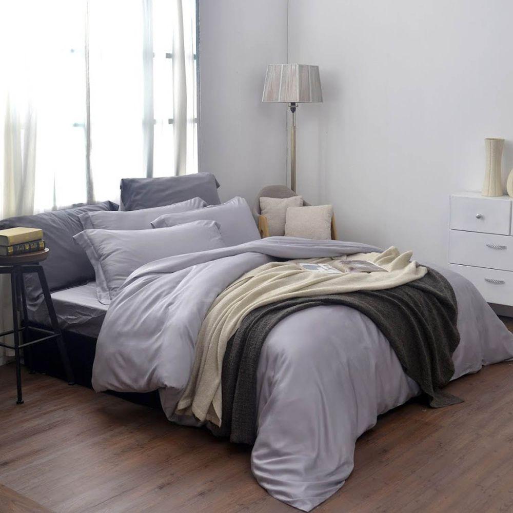 格蕾寢飾 Great Living - 義大利La Belle《簡約純色》天絲被套-灰色