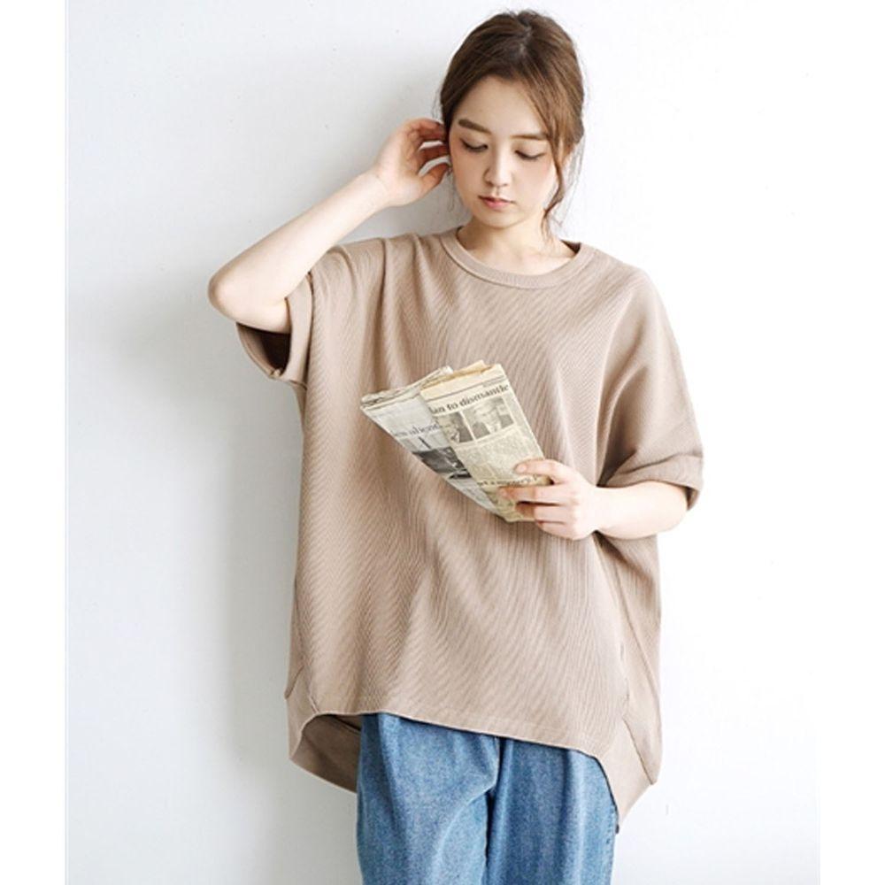日本 zootie - 純棉鬆餅紋顯瘦五分袖寬版上衣-灰杏
