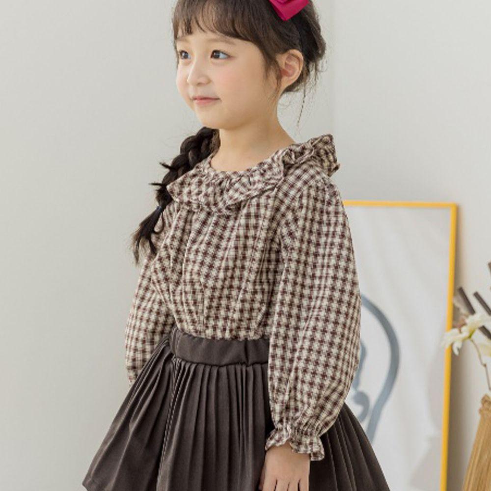 韓國 Orange Mom - 荷葉領格子泡泡袖上衣-咖啡