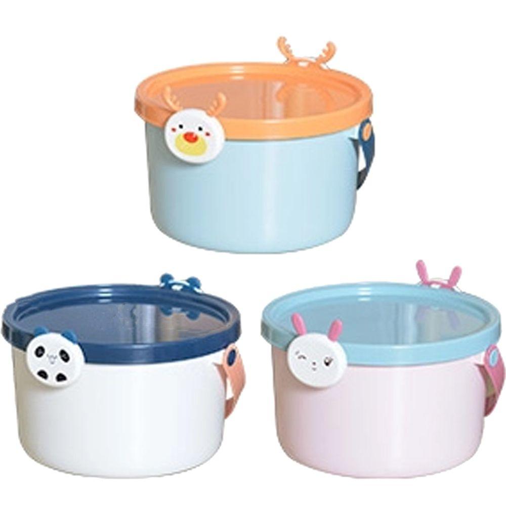 家窩 - 動物造型卡扣戲水/玩具收納桶附蓋-小-3入-熊貓+兔子+麋鹿各1