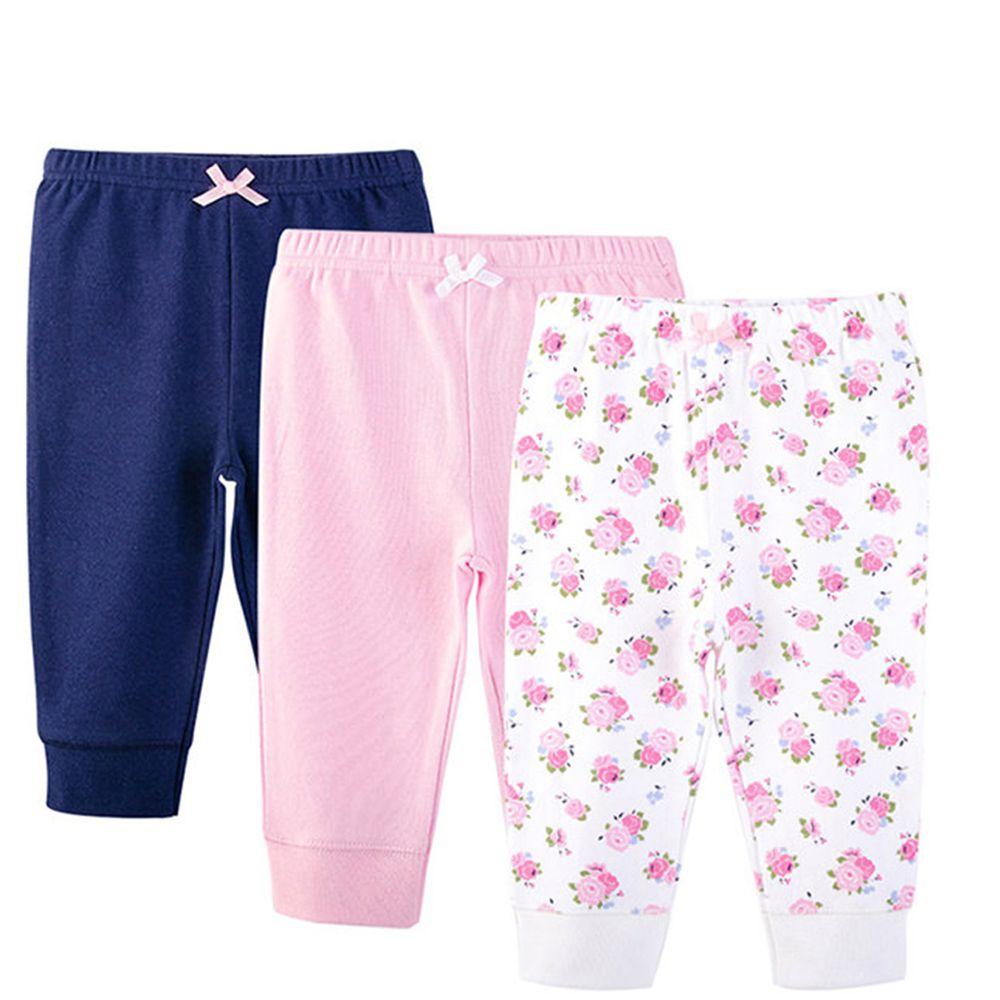 美國 Luvable Friends - 100%純棉嬰幼兒長褲3件組-粉白碎花