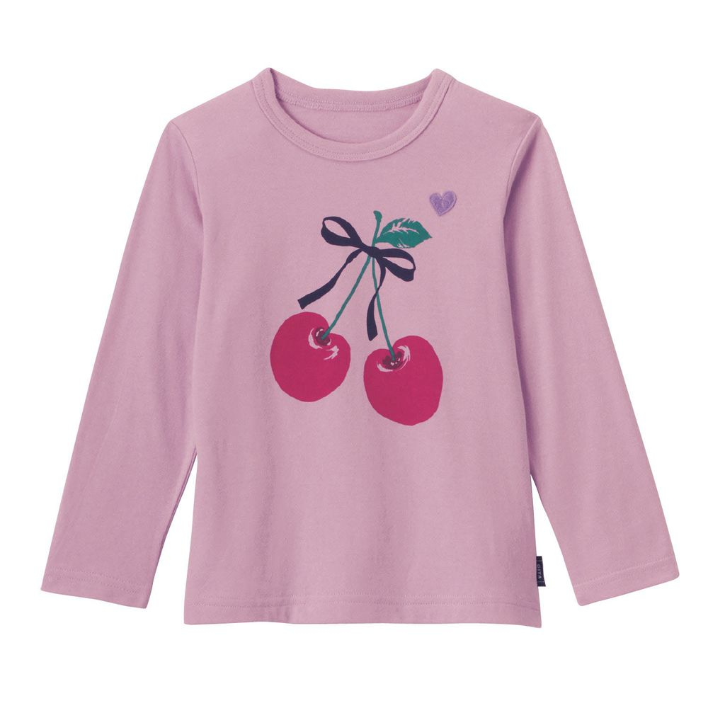 日本千趣會 - GITA 純棉輕薄舒適長T-緞帶櫻桃-紫
