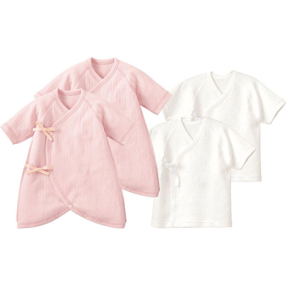 日本 Combi - mini系列-純棉保暖內衣4件組 (50-60)-白色肚衣*2 粉色蝴蝶裝*2