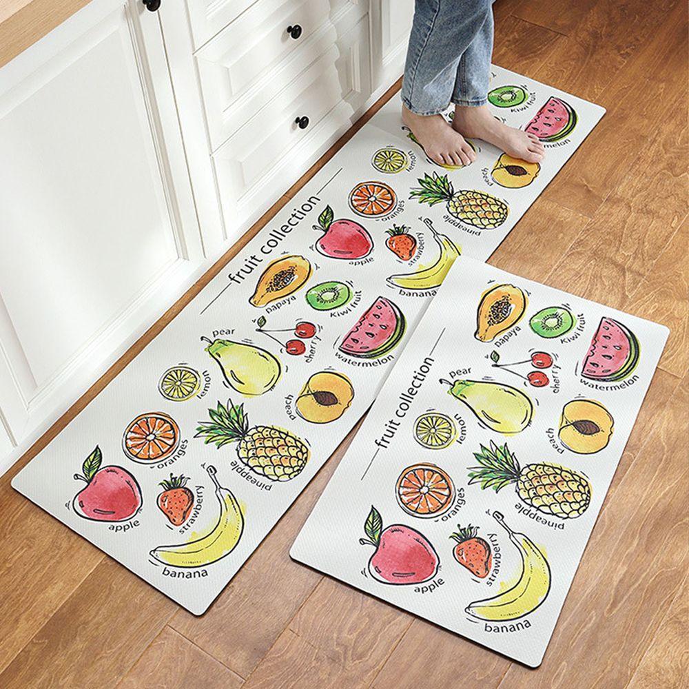 廚房仿皮革PVC防水腳踏墊-水果家族