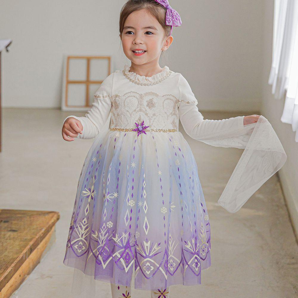 韓國 mari an u - 冰雪女王艾莎洋裝(披風可拆)-冰晶白