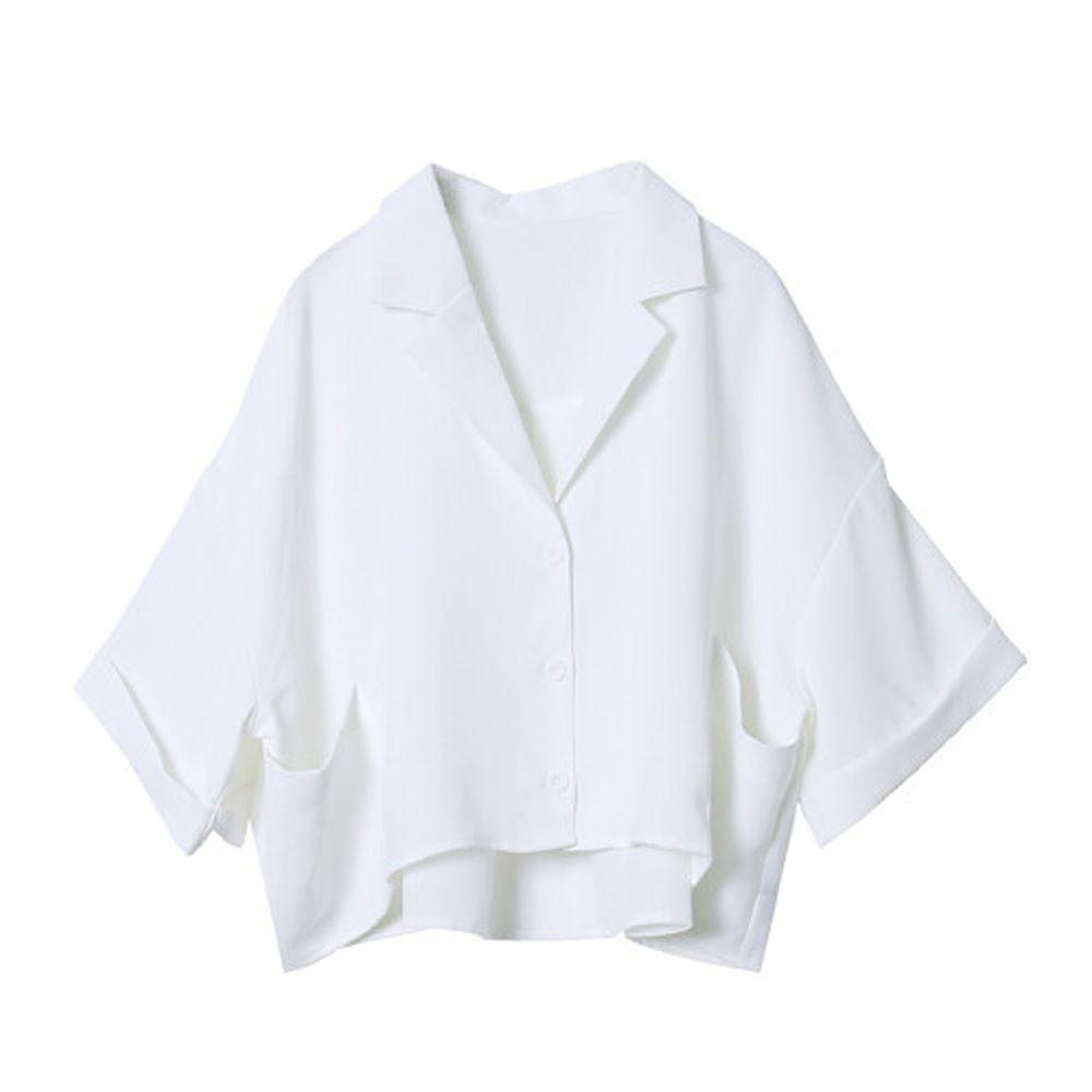 日本 Rejoule - 顯瘦前短後長五分袖寬版口袋襯衫-白 (M(Free size))