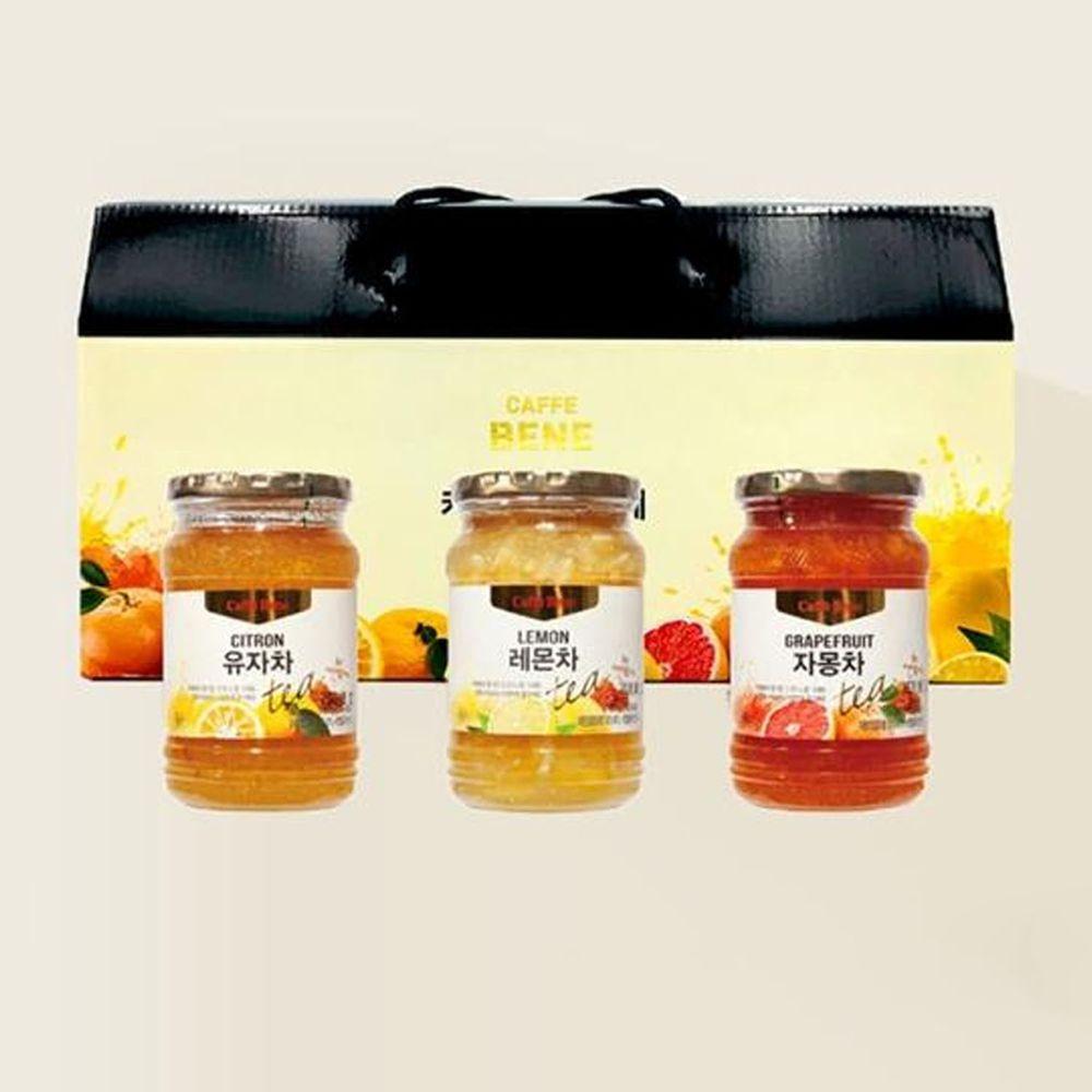 韓國Caffebene咖啡伴 - 韓國果茶禮盒-蜂蜜柚子/蜂蜜葡萄柚/蜂蜜檸檬(480g*3罐/盒)
