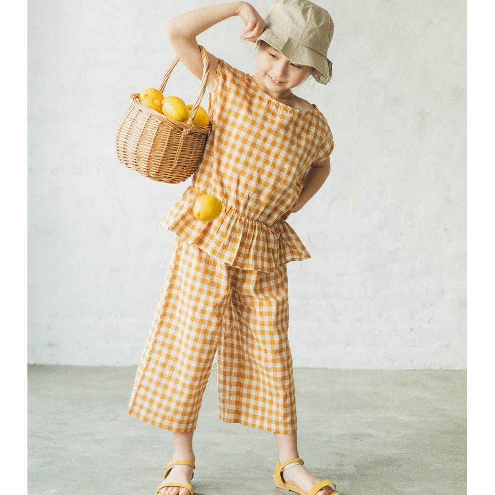日本 PAIRMANON - 無袖荷葉衣襬上衣 X 寬褲套裝-格紋-芥末