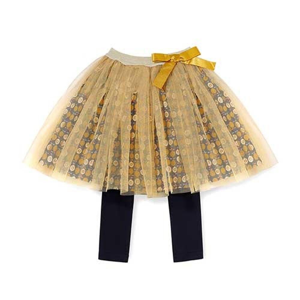 韓國 OZKIZ - 滿版果實金色網紗褲裙