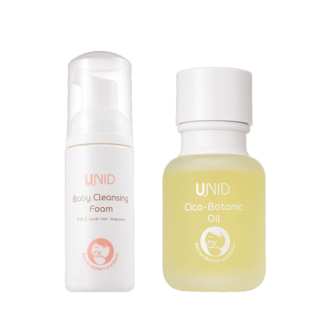 美國UNID - Cica植萃舒緩調理油Cica-Botanic Oil+U寶淨膚慕斯Baby Cleansing Foam-50ml+50ml