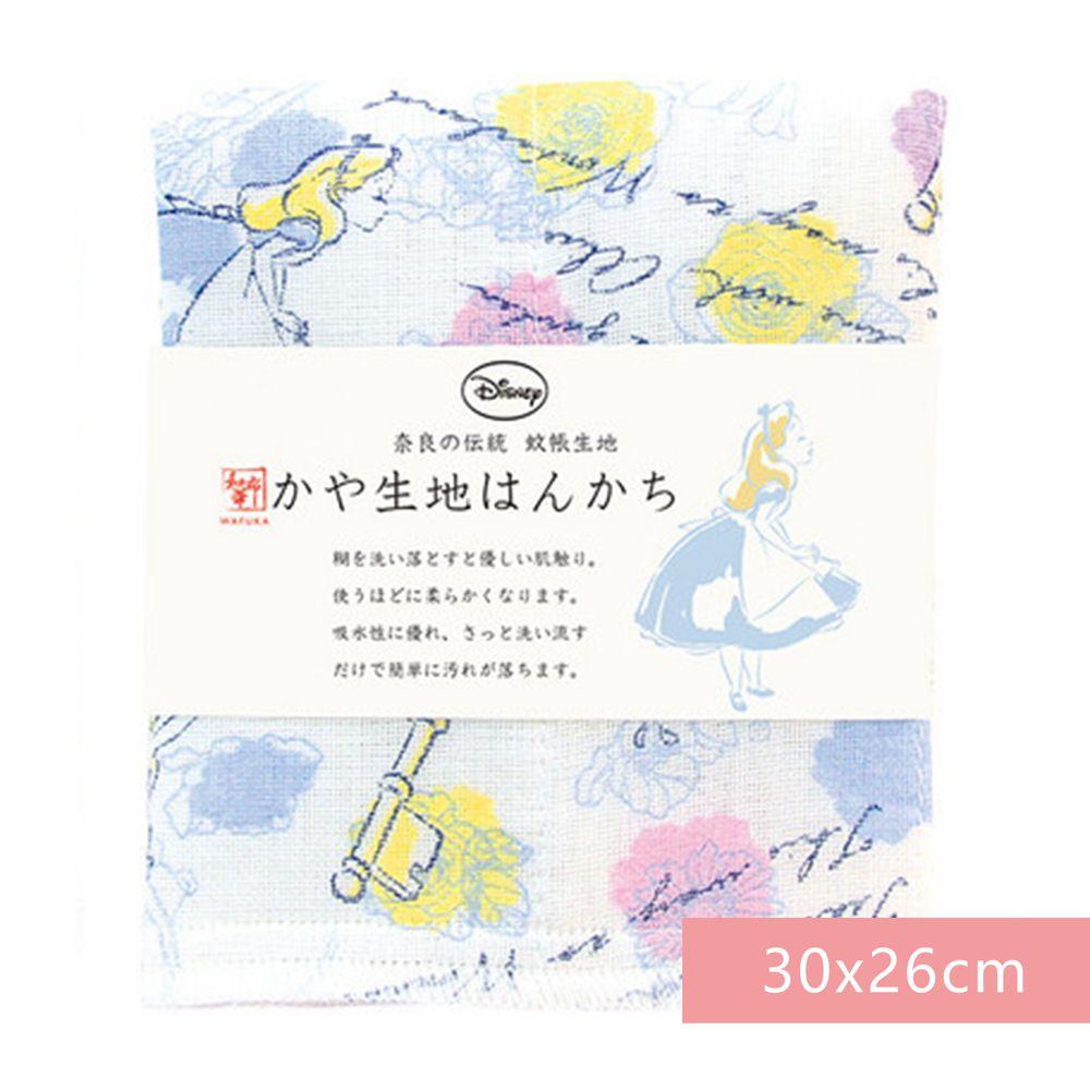 日本代購 - 【和布華】日本製奈良五重紗 手帕-愛麗絲夢遊仙境 (30x26cm)