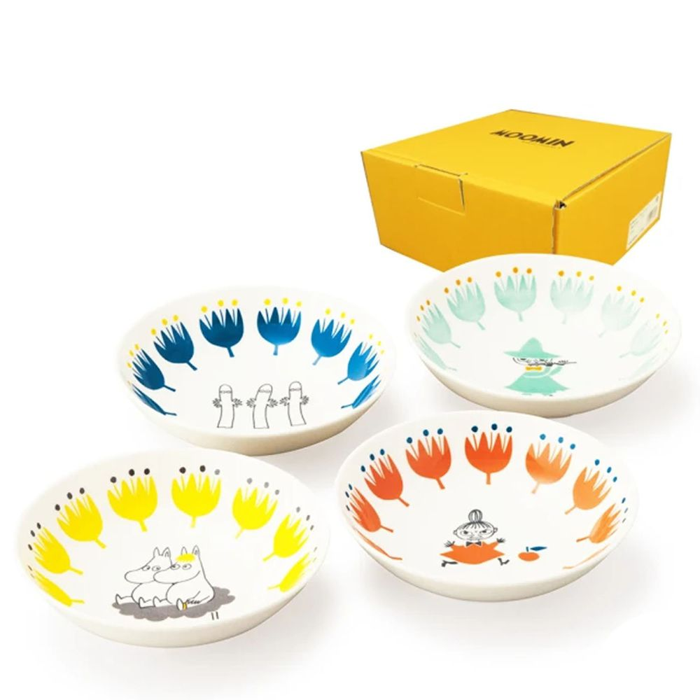 日本山加 yamaka - moomin 嚕嚕米彩繪陶瓷碗禮盒-MM1000-185-4入組