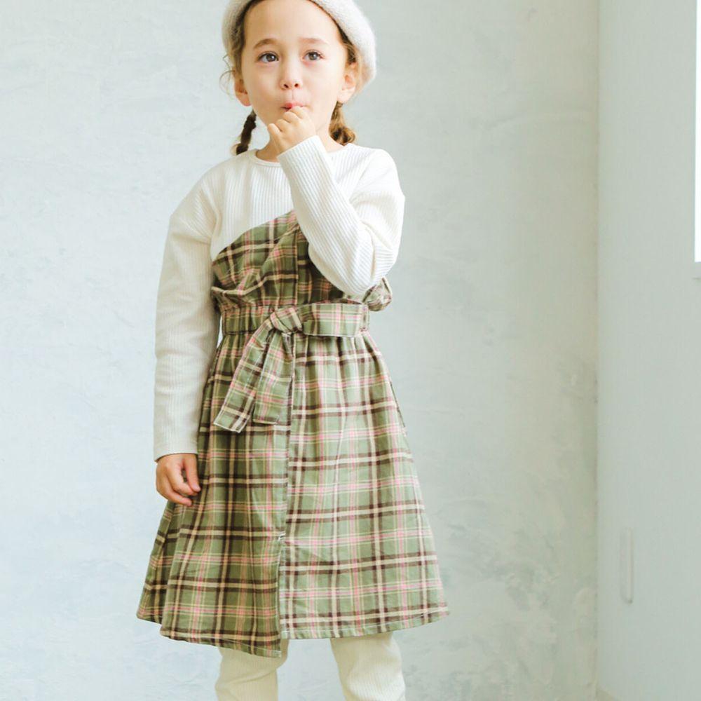 日本 PAIRMANON - 假兩件拼接蝴蝶結鬆餅紋長袖洋裝-格紋-米X綠粉