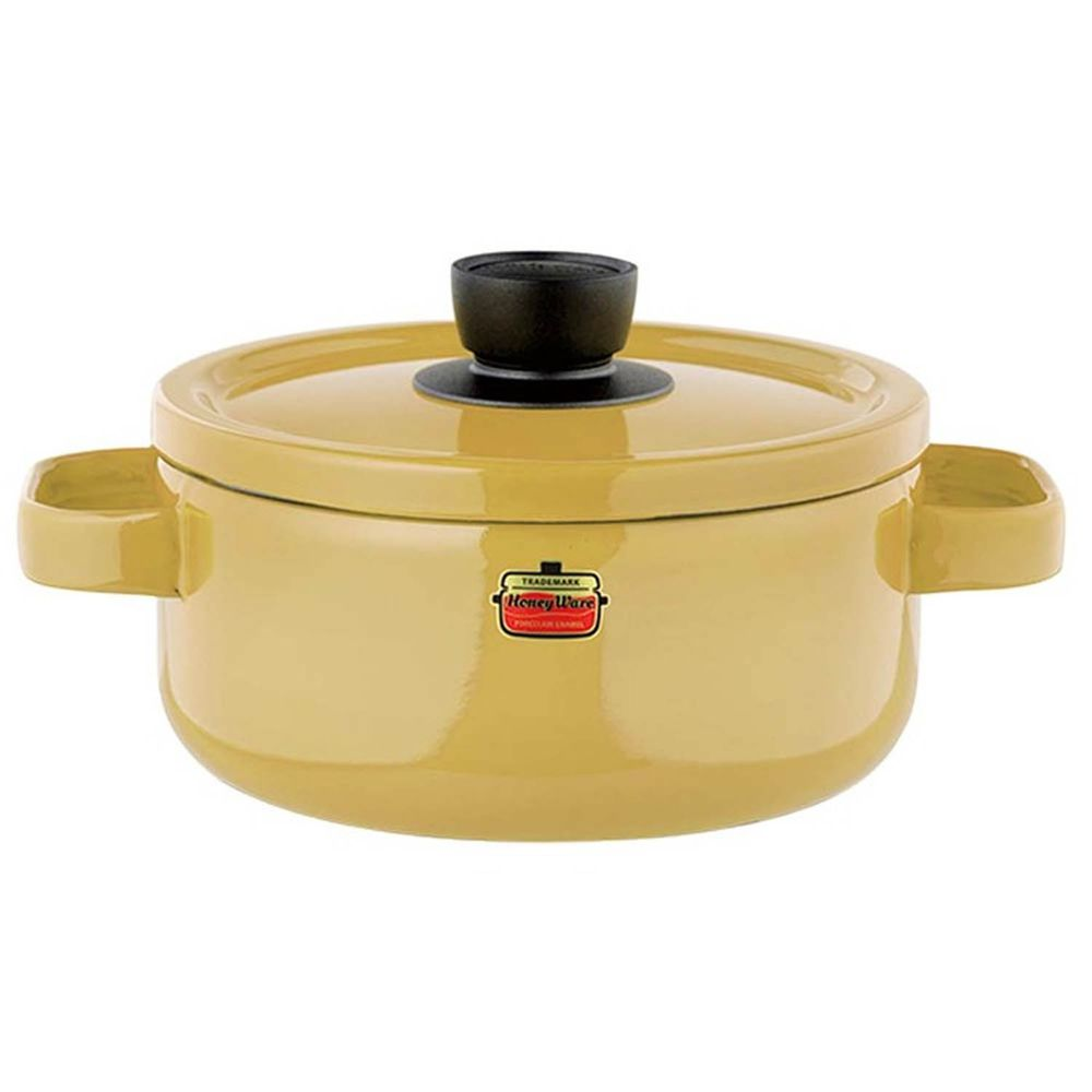 FUJIHORO 富士琺瑯 - Solid 經典系列-20cm雙耳附蓋琺瑯鍋-芥末黃-容量:3.0L 重量:1.45kg