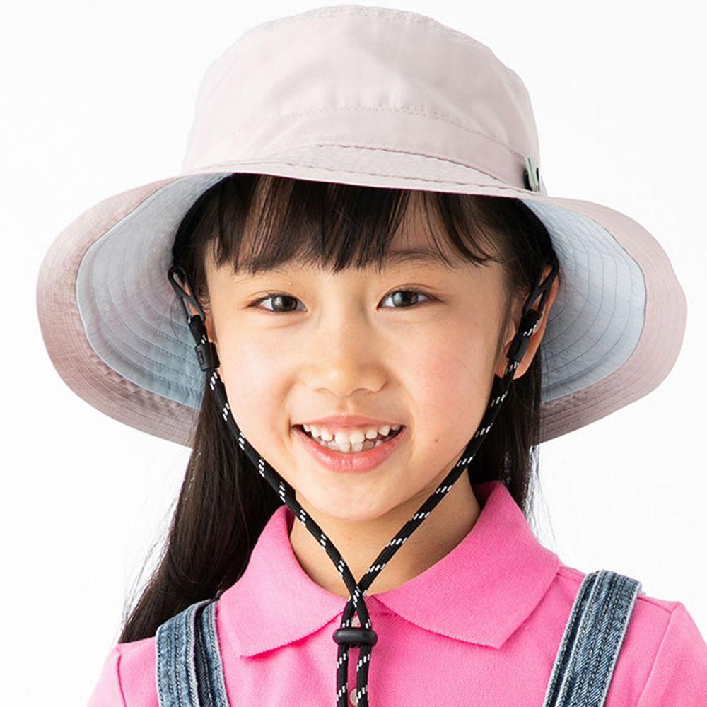 日本服飾代購 - 【irodori】抗UV可捲收防潑水遮陽帽(附防風帽帶)-兒童款-灰粉X淺藍內裏 (54cm)