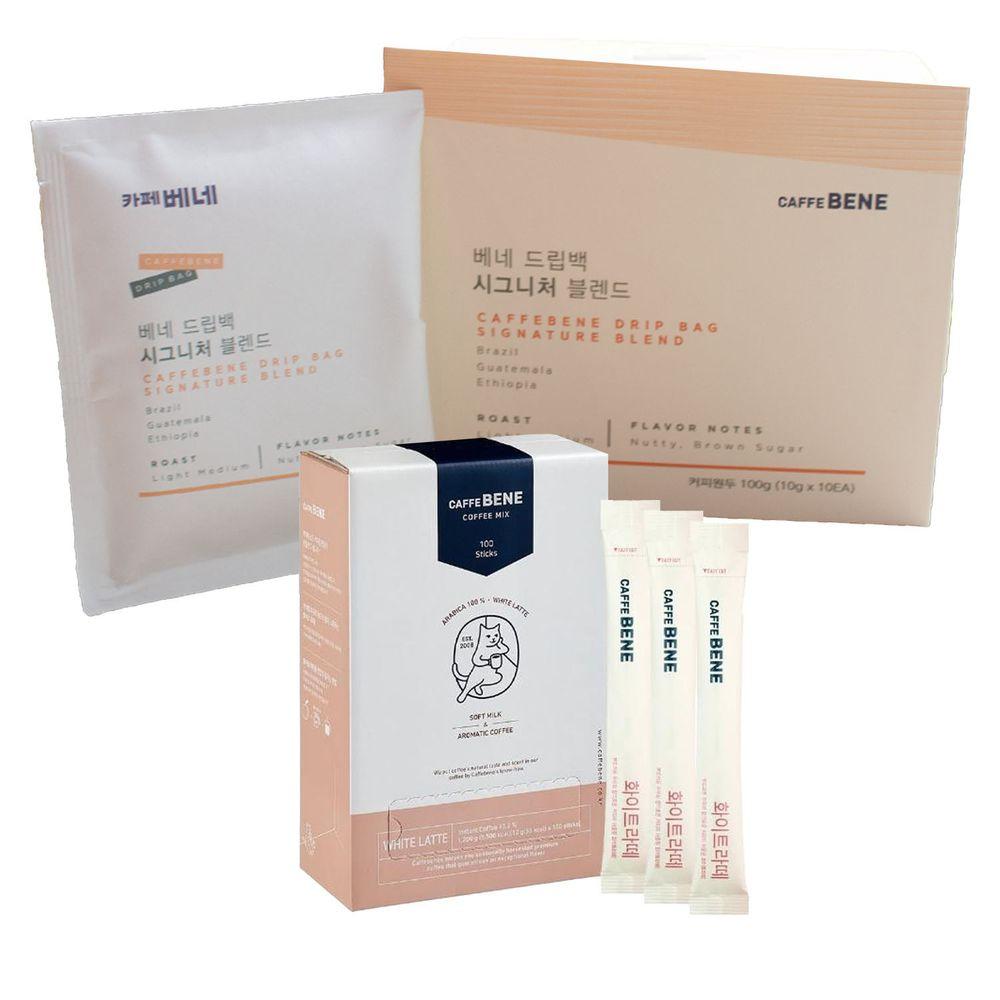 韓國Caffebene咖啡伴 - 【品味組】BENE濾掛咖啡(10入/盒)+三合一白咖啡(100入/盒)