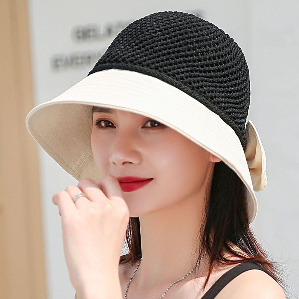 成人可折疊鏤空漁夫遮陽草帽-米白 (55-58cm)