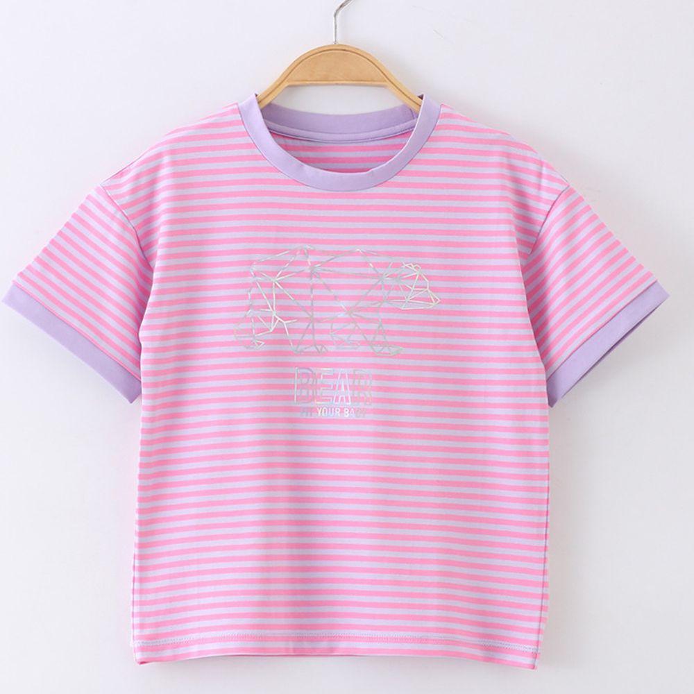 FitUrBabe - 彈力棉質短袖上衣-條紋小熊-粉色