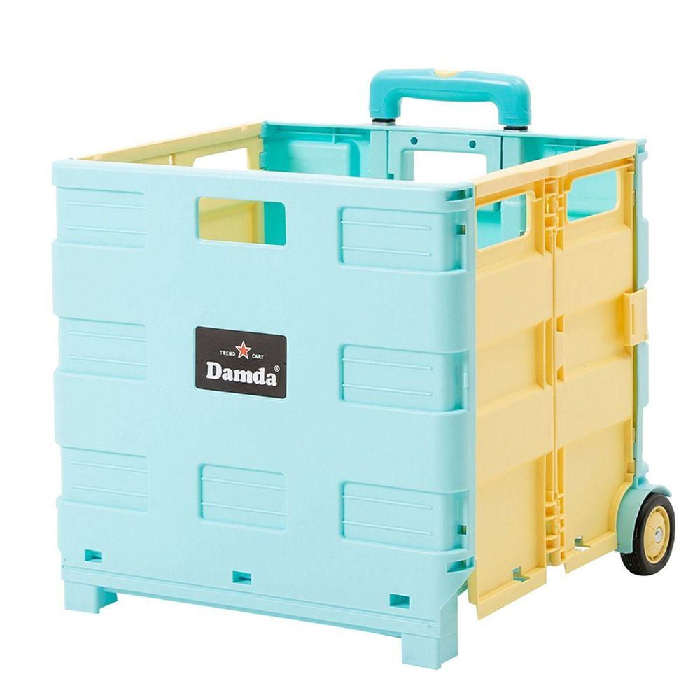 韓國 Damda - 折疊收納手拉車-大-天藍/鵝黃-尺寸:42X36.5cm, 容量57L