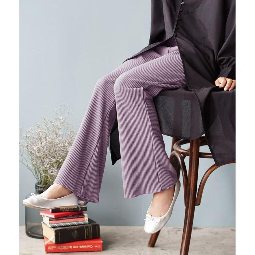 日本 zootie - 微起毛羅紋喇叭褲-紫