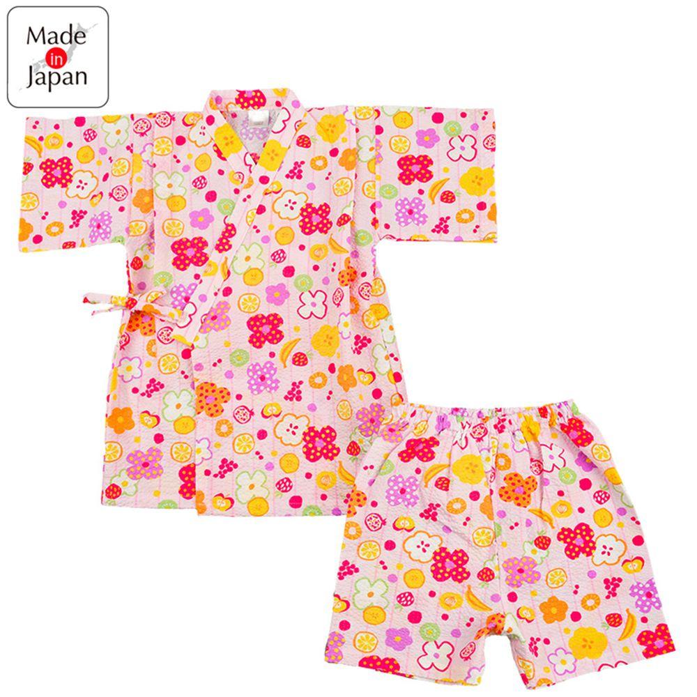 akachan honpo - 水波紋兩件式甚平-水果-粉紅色