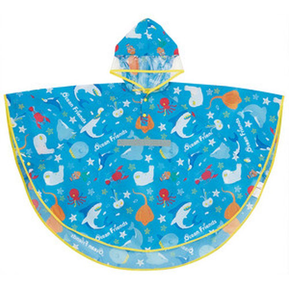 日本 SKATER 代購 - 兒童防雨斗篷(附安全反光條/收納袋)-海底好朋友 (110~125cm通用)