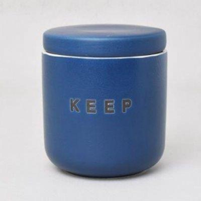 馬卡龍食材保存陶瓷罐-穩重藍-450ml