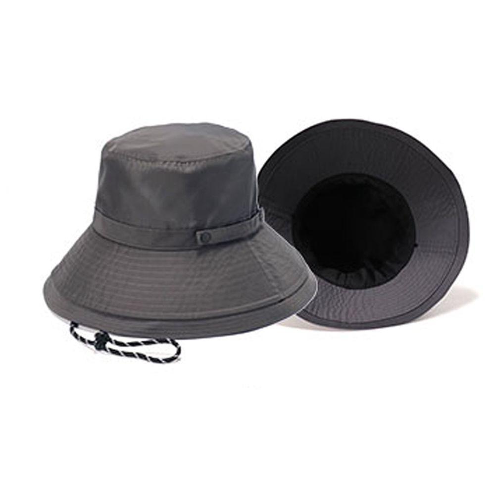 日本 irodori - 【irodori】抗UV可捲收防潑水遮陽帽(附防風帽帶)-石墨灰