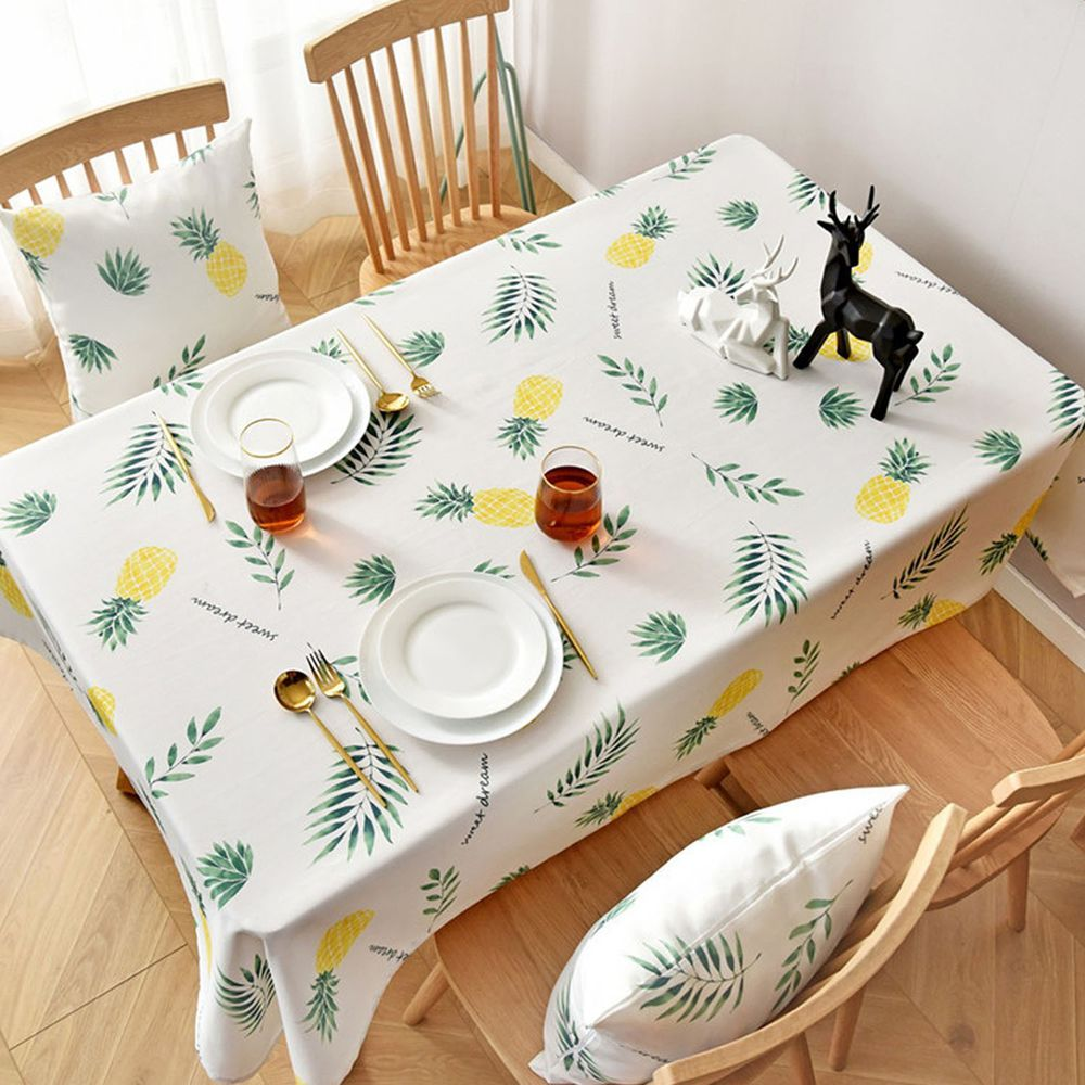 防水防油免洗桌布-鳳梨-綠色