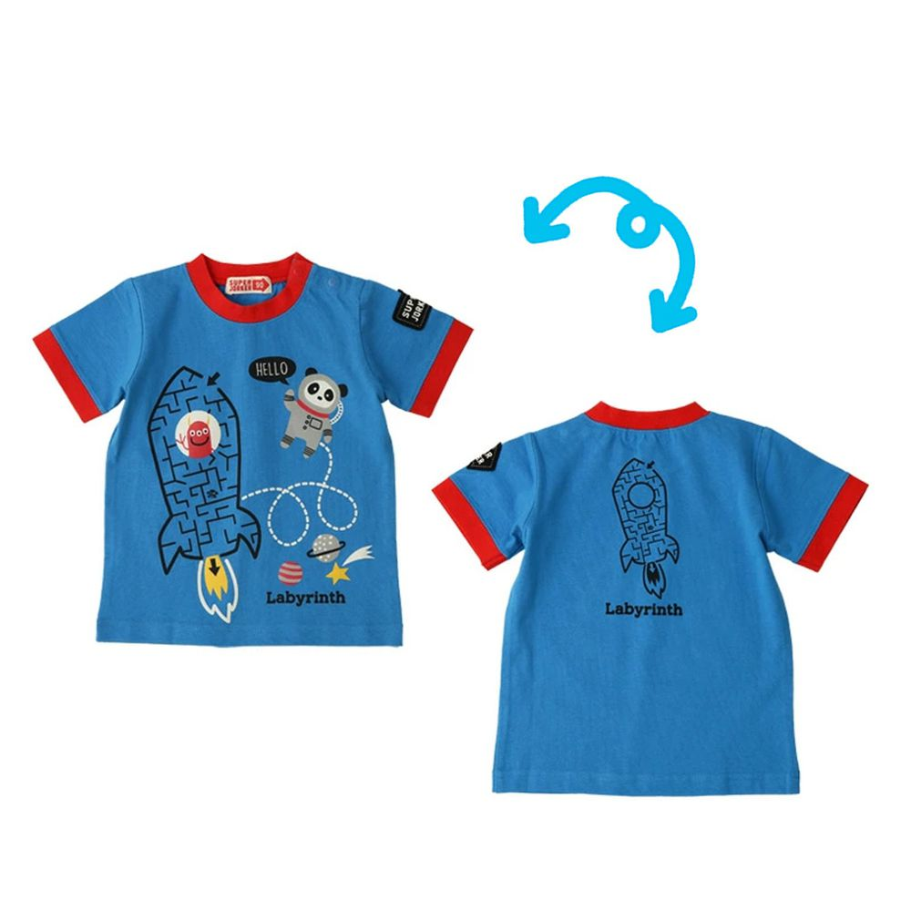 日本 ZOOLAND - 純棉印花短T-迷宮火箭-藍