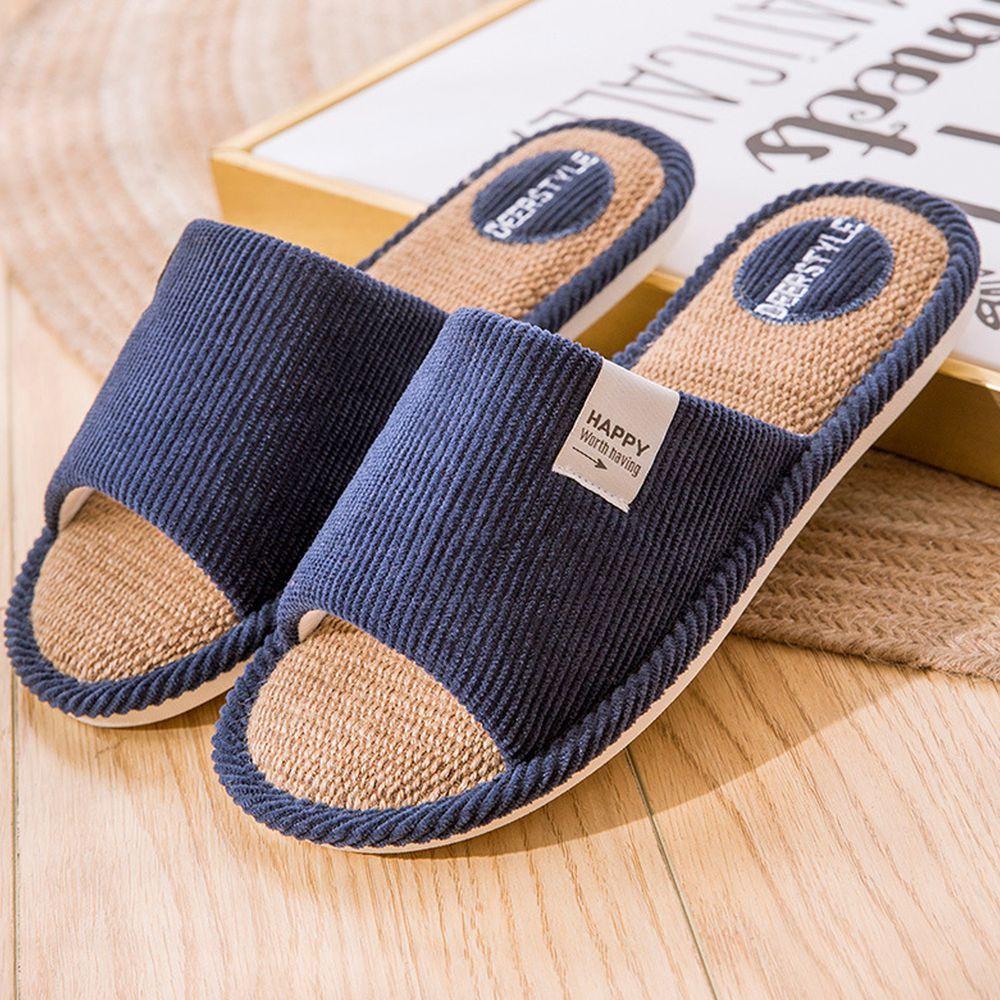亞麻室內拖鞋-燈芯絨面-藏青色