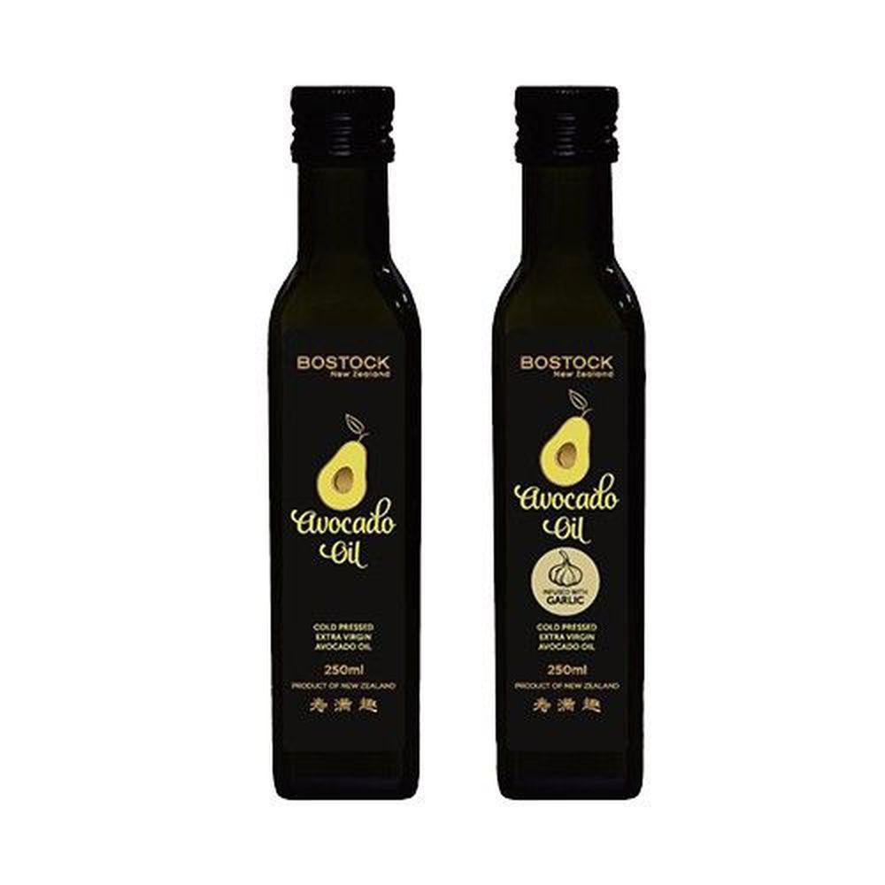 壽滿趣-紐西蘭BOSTOCK - 頂級優惠兩件組-頂級冷壓初榨酪梨油+蒜香風味酪梨油-250ml*2