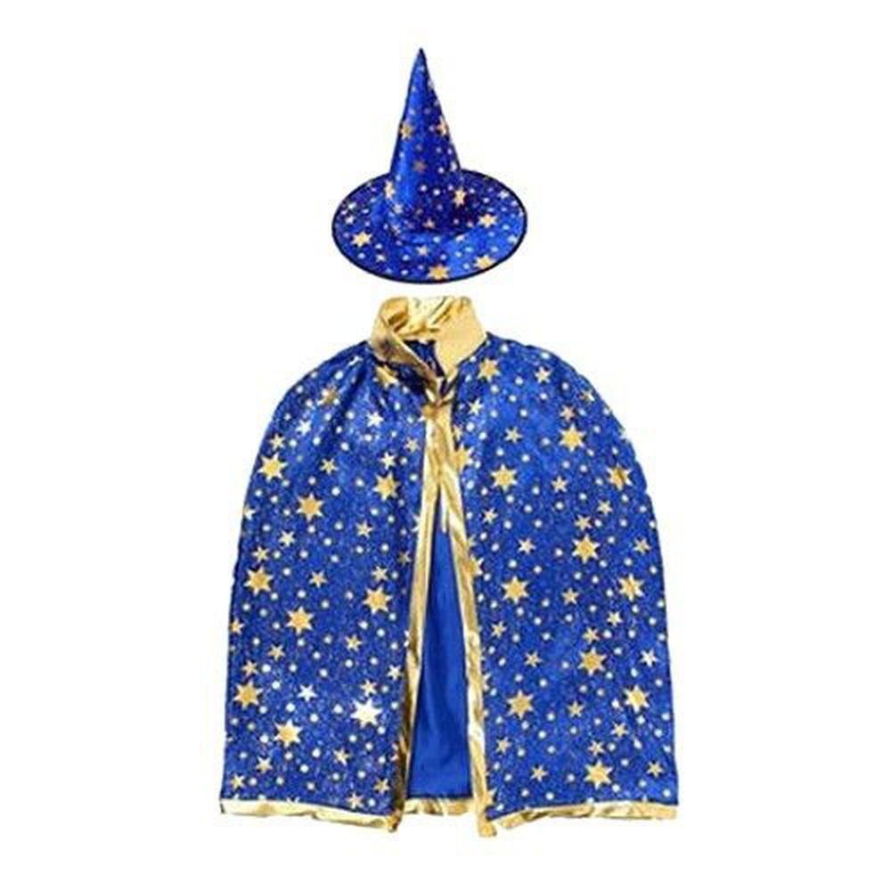 摩達客 - 五角星斗篷披風兩件組-藍金色-女巫帽+斗篷